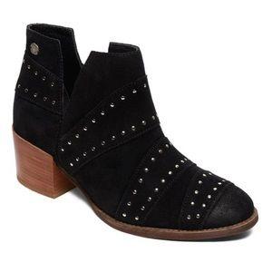 ROXY Lexie Black Ankle Suede Rivet Bootie Sz 9 EUC